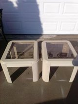 Solid / Wood / Almond Smoke Glass 2 Piece End Table Set in Fort Campbell, Kentucky