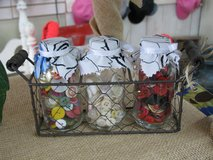 Buttons - 3 bottle set in a wire basket in Houston, Texas