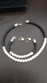 PRICE REDUCED! Pearl and Braided black leather choker, bracelet, and earrings in Bolingbrook, Illinois