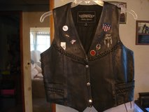 LADIES LEATHER MOTORCYCLE VEST WITH PINS in Barstow, California