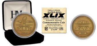Seahawks vs. Patroits Bronze XLIX Highland Mint #rd coin w/ case & COA *** NEW *** in Tacoma, Washington