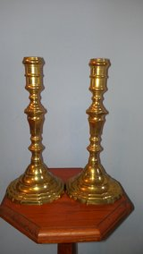 "Pair Vintage Solid Brass 10"" Taper Candle Sticks Holders Piano Table in Aurora, Illinois"