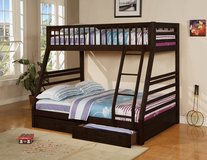 NEW TWIN FULL BUNK BED WITH MATTRESS AND DRAWERS, FREE DELIVERY in Fort Irwin, California