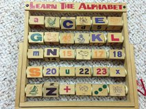 Wooden alphabet abacus easel toy letters pictures ages 3-5 in Bartlett, Illinois