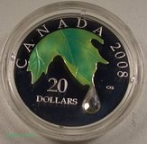 2008 CANADA $20 FINE SILVER COIN CRYSTAL RAINDROP BOX in Camp Lejeune, North Carolina