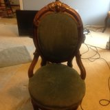 antique blue parlor chair in Yorkville, Illinois