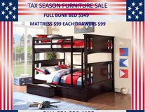NEW FULL OVER FULL BUNK BED ONLY in Riverside, California