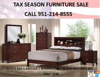 NEW SOLID WOOD 4 PC QUEEN BED SET ONLY WITH MATTRESS in Riverside, California