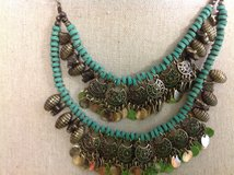 NWT Pixley Julianna Double Layer Bead Blue Statement Necklace Turquoise Bronze Coins Hobo Multi ... in Kingwood, Texas