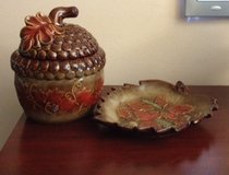 Ceramic Acorn Jar & Leaf Tray in Bolingbrook, Illinois