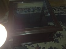 """Cherry finish table with approx 3/8"""" clear glass top in Baumholder, GE"""