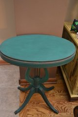 Antique Wood Harp Accent Side End Table Shabby Distressed Emerald in Joliet, Illinois