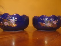 2 Cobalt Blue Japanese Ashtray's With Gold Trim in Warner Robins, Georgia