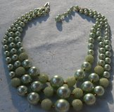 Vintage Triple Strand Bead Necklace Mint Soft Green in Houston, Texas