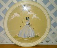 "Vintage Hand Painted 16"" Round Water Color Tulip Flower Gardener Girl in Naperville, Illinois"