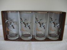 4 Gold Trimmed Drinking Glasses ( Geese) in Oswego, Illinois