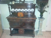 Victorian Belgian Walnut sideboard 1890-1900 marble top in Fort Rucker, Alabama