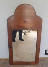 Vintage Dresser or Wall Mirror Solid Pine Wood Frame 20 x 39 inches Custom Handmade in Byron, Georgia
