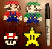 Perler bead Nintendo figures - mario, luigi, mushroom, star in Lockport, Illinois