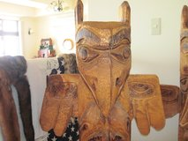 Alaska Chainsaw Art Totem Pole in Okinawa, Japan