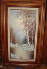 """Winter Landscape"" by Artist Wallace Oil Painting on Canvas Solid Wood Frame-Pic... in Chicago, Illinois"