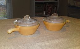 Six  Fire King Oven Ware Beehive Peach Lustre Soup Bowls  With Handles  and Lids in Camp Lejeune, North Carolina