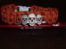 PARACORD BRACELET WITH 3 SKULLS CHARM in Barstow, California