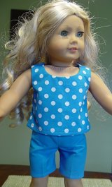 "Doll clothes 18"", Summer Outfit, Blue & white in Camp Lejeune, North Carolina"