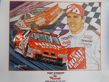 ROOKIE TONY STEWART PRINT - NEW NEVER DISPLAYED OFFICIALLY LICENSED BY NASCAR ARTIST SAM BASS in Warner Robins, Georgia
