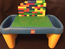 Lego / Duplo /Mega Blok table with side storage and 70 Mega Blok Duplo bricks in Glendale Heights, Illinois