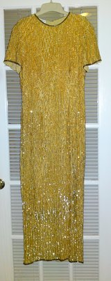 STENAY GOLD SEQUIN EVENING GOWN in Camp Lejeune, North Carolina