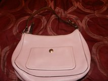 Pink eather coach purse in Oswego, Illinois