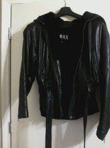 Womens Black Leather Jacket w/ Hood in Beaufort, South Carolina