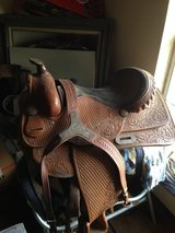 Beautiful tooled custom made DM saddle with breast-collar in Alamogordo, New Mexico