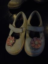 Toddler/Baby Girls Keds Leather Shoes Sneakers Velcro White w/ Pink Flowers in Camp Lejeune, North Carolina