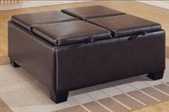 Espresso Leather storage ottoman in 29 Palms, California