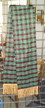 OTH6 - 51 GREEN PLAID SCARF WITH GOLD FRINGE in Camp Lejeune, North Carolina