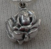 Silver Rose Slide Locket Doubled Sided Bright Silver Chain St. Michael on One Side Guardian Ange... in Houston, Texas