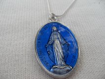 Large Blue Glass Miraculous Medal on Silver Snake Chain Double Sided Medal in Houston, Texas