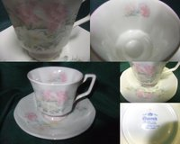 pink on white china cup and saucer in Plainfield, Illinois