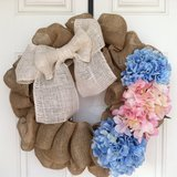Spring Blue and Pink Hydrangea Wreath in Beaufort, South Carolina