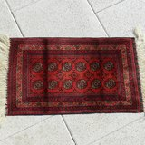 60x40 cm Afghan Dark Red Handmade Bukhara Elephant Foot Rug in Los Angeles, California