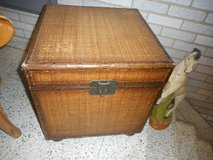 Wicker Rattan Leather trim wood based Footed Trunk in Westmont, Illinois