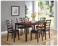 NEW 7 PC SOLID WOOD DINE SET YES TABLE 6 CHAIRS in Riverside, California
