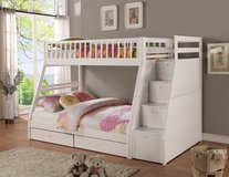 WALK UP STAIRWAY BUNK BED TWIN FULL WITH STORAGE DRAWERS in Riverside, California