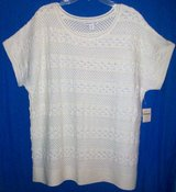 New! Sz 1X Coldwater Creek Ivory Textured Stripe Sweater in Orland Park, Illinois