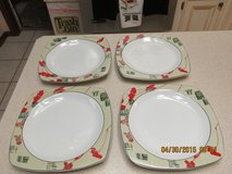 """Sakura"" Asian-Themed Porcelain Square Plates (4) - Never Used in Kingwood, Texas"