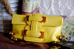 new roberto cavalli yellow small leather buckle clutch wristlet in Los Angeles, California