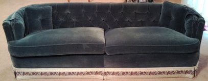 Formal Sofa, Forest Green with Floral Trim and Throw Pillows in Tifton, Georgia