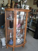 All wood curio cabinet rounded glass in San Ysidro, California